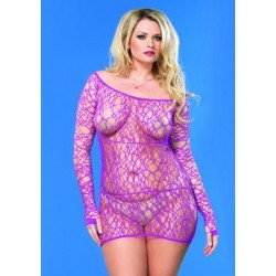 Web Net Mini Dress - Purple -  Queen Size