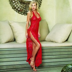 Rose Lace High Slit Gown and  G-string - Red - One Size