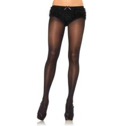 Opaque Tights with Cotton Crotch - Black - One Size