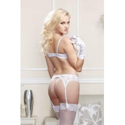 Stretch Lace Shelf Bra - White  - 32
