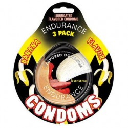 Endurance Banana Flavored Condoms - 3 Pack