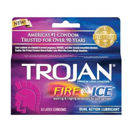Trojan Fire And Ice Dual Lubricated - 10 Pack