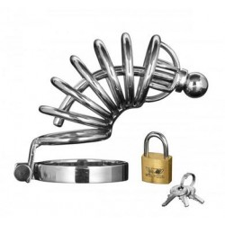 Asylum 6 Ring Locking  Chastity Cage - Small-medium