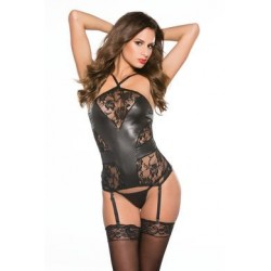 Kitten Lace & Wet Look Corset - One Size