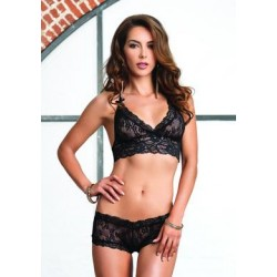 2 Pc. Lace Halter Bra Top with Matching G-string Booty Short - Black - Small/medium