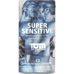 One - Tom of Finland - Super  Sensitive Lubricated Condoms  - 12 Pack