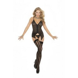 Camisette, G-string and  Stockings - Black - One Size