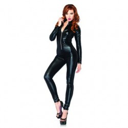 Lam Zipper Front Catsuit - Small
