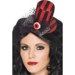 Mini Top Hat on Headband - Red and Black