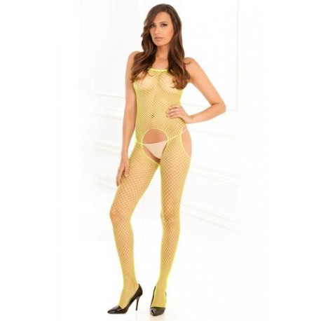 Industrial Net Suspender Bodystocking - Lime - One Size