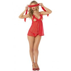 3 Pc. Lace & Mesh Babydoll Set with Eyemask - One  Size - Red