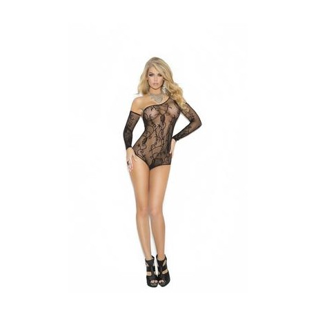 Floral Fishnet Teddy and  Gloves - Black - One Size