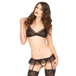 2 Pc Lace Bralette & Crotchless Garter Panty -  Black - One Size