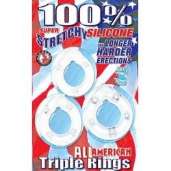 All American Triple Rings-  Clear