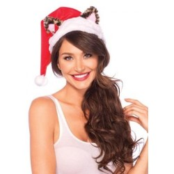 Santa Kitty Plush Hat with Mini Bell Bow - One Size