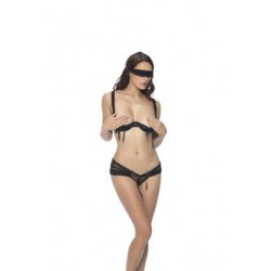 3 Pc. Cupless Chiffon Bra, Panty, & Eye Mask Set  - Black - Small/medium