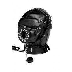 Sensory Deprivation Hood W/ Open Mouth Gag