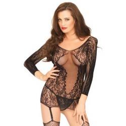 Net & Lace Garter Dress - One Size - Black