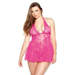 Curve Stretch Lace Chemise & Matching G-string -  Pink - 3x/4x