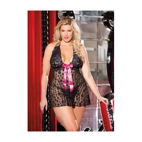 Large Polka Dot Net Babydoll  - Black - Queen Size