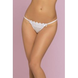 Penelope Floral Crochet Lace & Point D' Esprit  Thong - White - Medium