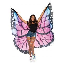 Festival Butterfly Wing Halter Cape - Purple/  Black - One Size