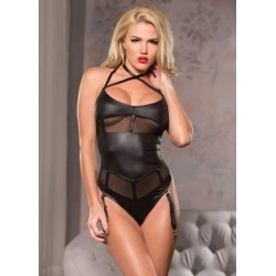Cross Neck Mesh Teddy - Black - Large/ Extra  Large