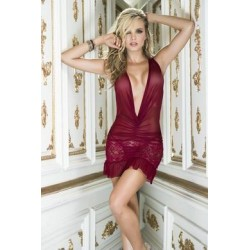 Babydoll with Matching G-string - Large -  Burgundy