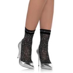 Lurex Anklets - Black/ Silver