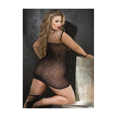Leopard Print Stretch Mesh Chemise - Queen Size