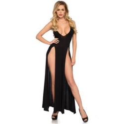 Deep-v Dual Slit Jersey Maxi Dress - Large -  Black