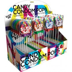 Candy Condom Pops - 24 Piece Display - Assorted  Flavors