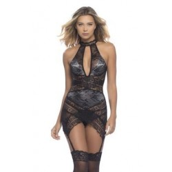 Lace Overlay Collared Chemise W/ Crossing Lace Panels + G-string - Black/ Ash - Small