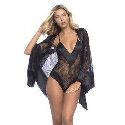 All over Lace Handkerchief Robe W/  Wide Satin Edges - Black - One Size