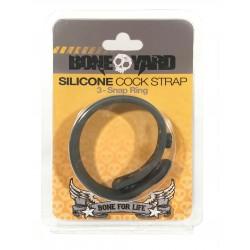 Boneyard Silicone Cock Strap 3 - Snap Ring -  Gray