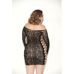 Floral Lace Long Sleeve Chemise - Queen Size -  Black