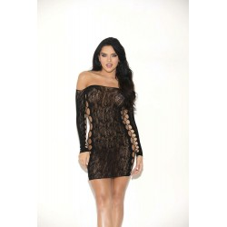 Floral Lace Long Sleeve Chemise - One Size - Black