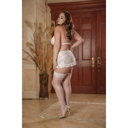 Angelic Lace - Halter Top Ruffle Skirt and G-String - 2x
