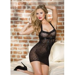 Stretch Leopard Patterned Stretch Lace Chemise - Black - One Size