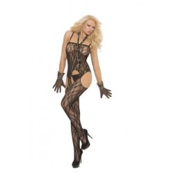 Lace Suspender Bodystocking - Black - One Size