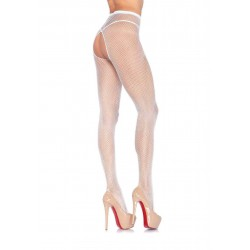 Crotchless Fishnet Pantyhose - One Size - White