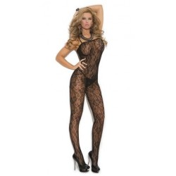 Rose Lace Bodystocking - Black - One Size