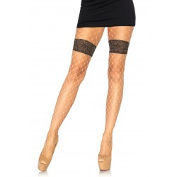 Diamond Net Tights With Faux Thigh Garter and Floral Waistband - One Size - Nude