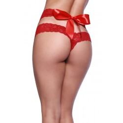 Lace Dual Strap Thong With Functional Tie Waistband - One Size - Red