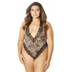 Printed Teddy With Lace Trimmed Plunging Neckline - Leopard/black - 3x4x