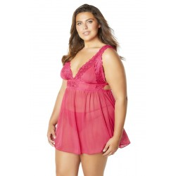 Mesh and Lace Frame Empire Babydoll With G-String - Bright Rose - 1x2x