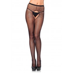 Crotchless Fishnet Pantyhose - One Size - Black