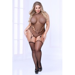 Fishnet Teddy Bodystocking - Queen Size - Black