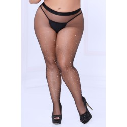 Crystal Rhinestone Fishnet Stockings - Black - Queen Size