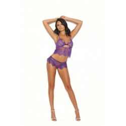 Lace and Cami Booty Shorts - Purple - Large